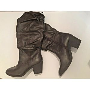 CALL IT SPRING Faux Leather Brown Cowboy Boots